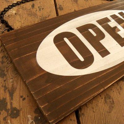 画像2: アンティーク加工OPEN看板【OW300ブラウン】